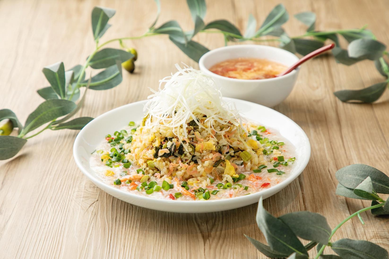 紅虎厨房 静岡県産水かけ菜のカニあんかけチャーハン(スープ付)-2
